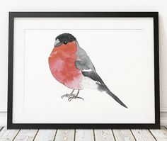 Lovely bird watercolor. Cute beautiful bullfinch print. Very nice nursery art. BUY 1 GET 1 FREE - use coupon code 777FOXY at checkout. Comes in