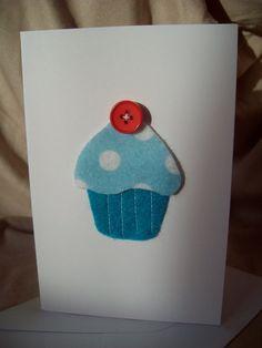 Blue Felt Cupcake Blank Greeting Card by kirstybaker on Etsy, £1.50