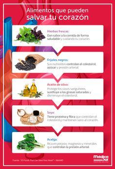 Cuida tu #corazón, elige alimentos que lo benefician.   #MédicaSur #TipsdeNutrición #Salud