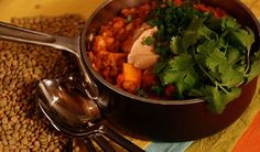 Sweet Potato Lentil Chili with Cinnamon Sour Cream by Chef Michael Smith | Lentils.ca