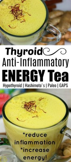 Thyroid Anti-Inflammatory Energy Tea is a super delicious cozy warm cup of goodness. Promote wellness, reduce stress and inflammation, and increase energy. Thyroid Anti-Inflammatory Energy Tea is a super delic Paleo Autoinmune, Dieta Paleo, Hypothyroidism Diet, Thyroid Diet, Thyroid Health, Thyroid Issues, Thyroid Disease, Thyroid Problems, Gut Health