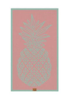 cotton beach towels in amazing mint and coral colours! PINEAPPLE graphic - 100% cotton   www.hawkeandthorn.com