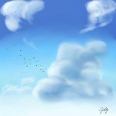 Follow me on --> http://blackdustx.deviantart.com/ #Clouds #digitalpainting #sky #bluesky #birds #blackdustx #paint