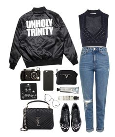 """unholy trinity"" by millicent4 ❤ liked on Polyvore featuring Topshop, T By Alexander Wang, Yves Saint Laurent, L:A Bruket, Le Labo, Black Apple and Ray-Ban"