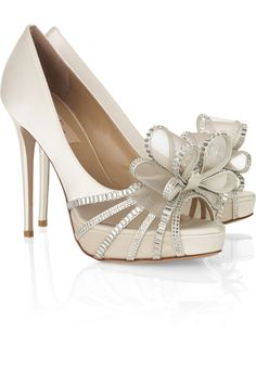 www.valentino.com, Valentino | Bow-embellished satin sandals | NET-A-PORTER.COM, bride, bridal, wedding, wedding shoes, bridal shoes, luxury shoes, haute couture