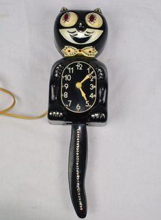 Vintage 60'S Kit Kat Klock Clock  - Black White Jeweled Cat - WORKING Original