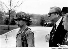 Kent State ShootingsⓀ Governor Rhodes of Ohio arrives at Kent State University campus to view the damage to the ROTC that was burned down the night before. The other individual wearing civilian clothes is General Del Corso. Kent State University, Rotc, Akron Ohio, Vietnam War, Rhodes, Cleveland, Childhood, Forget, History