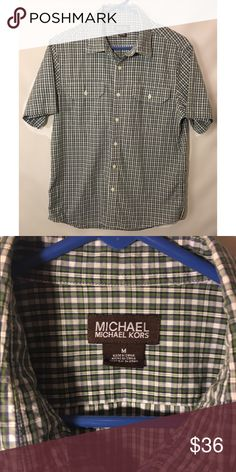Michael Kors Men's Button Plaid Green White Shirt In excellent like New condition. Beautiful shirt. True to size MICHAEL Michael Kors Shirts Casual Button Down Shirts