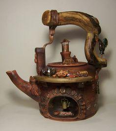 """Чайник """"Вечерняя сюита. Пастораль"""". Александр и Татьяна Бузлановы. Творческая мастерская """"Капля Росы"""". #Чайник, #керамика, #teapot, #ceramics teapot, ceramics, чайник, чайник керамика, чайник гончарный, керамика гончарная, чайник ручная работа, чайник авторский, , чайник роспись"""