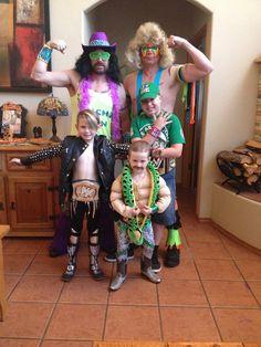 Wwe Halloween costumes: Chris Jericho, Jake the snake Roberts, John Cena, Ultimate Warrior, & macho man Randy Savage.
