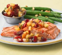 Grilled Salmon with Cherry Nectarine Salsa: Smoky grilled salmon paired with a lively summer salsa.