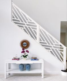 See real life examples of wall paint color decorators white by Benjamin Moore. A true bright white. Stair Railing Design, Staircase Railings, Stairs, White Staircase, Bannister, Staircase Ideas, Modern Staircase, Blue Ceiling Paint, Best White Paint