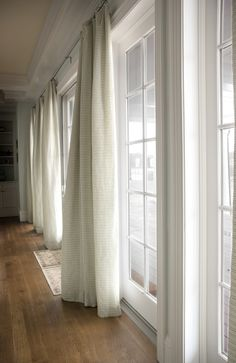Patio Doors - Curtain and Rail detail Patio Door Coverings, Patio Door Curtains, Patio Doors, Window Coverings, Entry Foyer, Entry Doors, Barn Doors, Hardwood Front Doors, Custom Wood Doors