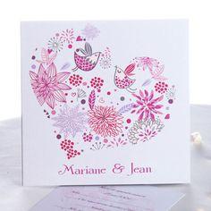 Faire Part Mariage Cœur Avec Motifs Naturels De Couleur Vive JM452 faire part de mariage pas cher, sur mesure - joyeuxmariage.fr