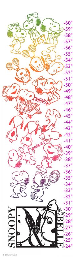 Description: Snoopy and Belle are friends forever in this Peanuts growth chart. Shown in bright colors on a white background, this growth chart is a darling addition to a child's bedroom. - Peanuts gr