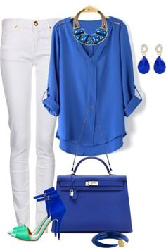 Shirt style/color, chunky necklace