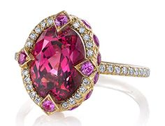 "Erica Courtney's 18-karat yellow gold ""Duchess"" ring set with a 4.31-carat pink spinel accented with pink sapphires and diamonds"