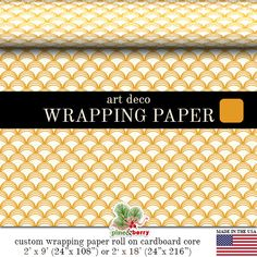Art Deco Wrapping Paper |  Golden Yellow Art Deco Glam Gift Wrap In Two Sizes Great For Any Occasion. Made In The USA
