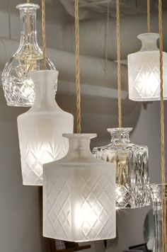 I love finding ways to repurpose used goods and use them in my home…and if I discovered this love prior to my 2010 big day, I would have loved finding ways to repurpose items for my wedding too. That's why I'm loving this use of old liquor bottles as hanging lights! {via Helodesignalmotion} Before you spend the …