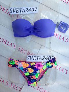 New Sexy Victoria's Secret Madi Push Up Bandeau Bikini Braid Neon #VictoriasSecret # #inlove