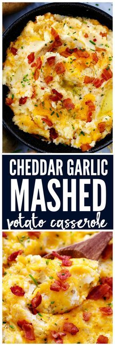 Cheddar Garlic Mashed Potato Casserole is loaded with creamy mashed potatoes, garlic and cheddar. The flavor is incredible and they can even be made the night before!