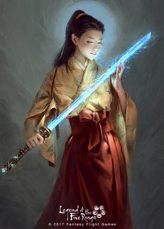 A place to share and appreciate fantasy and sci-fi art featuring reasonably portrayed women. Ronin Samurai, Female Samurai, Samurai Poses, Dnd Characters, Fantasy Characters, Female Characters, Fantasy Warrior, Fantasy Rpg, Fantasy Inspiration