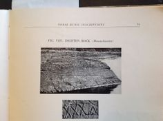 """Dighton Rock ,MA.  Suggested date is 1052 AD  From: """"Norse Runic Inscriptions along the Atlantic Seaboard"""". Olaf Strandwold. page 15"""