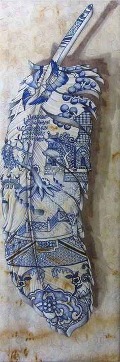 Blue Willow Feather by Julie Haddrick | SAlt (South Australian Living Textiles). Posted at Craft Quilt Fair Tasmania 2014
