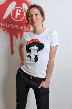 """Damen T-Shirt, Schablonen-Druck, """"Audrey"""""""