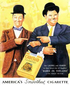 Laurel & Hardy smoke Old Gold Cigarettes in 1934 vintage cigarette ad Old Advertisements, Retro Advertising, Retro Ads, Celebrity Advertising, Laurel Et Hardy, Stan Laurel Oliver Hardy, 1920s Ads, 1930s, Old Poster