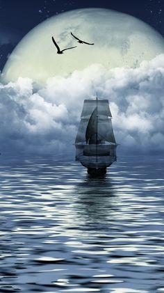 Ideas For Sail Boats Wallpaper Ship Paintings, Landscape Paintings, Boat Wallpaper, Old Sailing Ships, Pirate Art, Ship Drawing, Tug Boats, Ship Art, Tall Ships