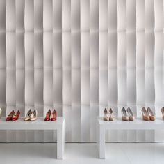 """Our """"palladio RV2"""" wall covering in """"bianco cotone"""" limestone allows Andrea Palladio's past heritage revive, creating a wall texture that perfectly fits the setting like a woman's pair of shoes fits her feet. From the """"Le Pietre Incise Palladio"""" collection."""