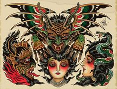 vintage style tattoo sheet - Google Search