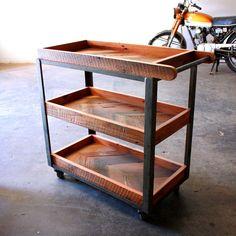 Industrial Bar Cart- Reclaimed Wood Serving Cart- Repurposed Vintage Dolly- Modern Loft Furniture- Rustic Barware- Chevron Wood Trolley