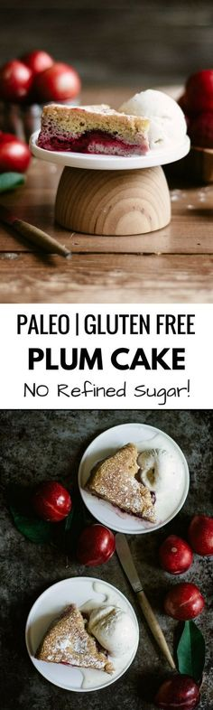 Plum cake- paleo and gluten free! This earthy seasonal cake is perfect for fall and made without refined sugar. Soft, moist cake layer topped with plums!