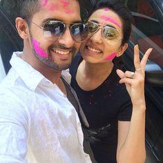 Ravi Dubey and Sargun Mehta celebrate Holi. #Bollywood #Fashion #Style #Beauty #Holi