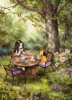 Forest Girl, Girl And Dog, Anime Scenery, Cute Illustration, Anime Art Girl, Aesthetic Art, Cartoon Art, Cartoon Girls, Oeuvre D'art