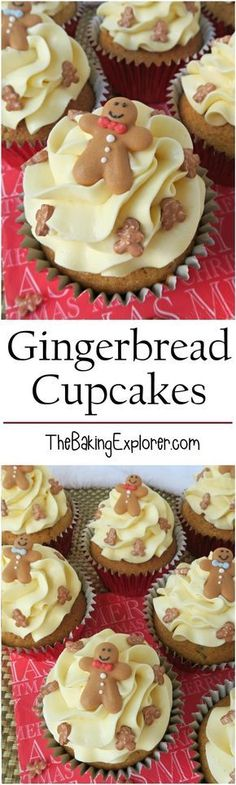 Gingerbread cupcakes infused with ground ginger and mixed spice, topped with sweet buttercream and decorated with gingerbread men! Perfect for Christmas!