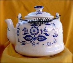 Vintage blue and white Ceramic tea kettle or pot  by chriscre, $9.75