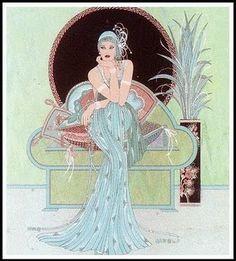 Art Deco or Art Nouveau Illustration Print