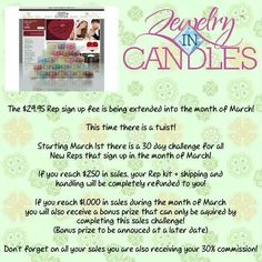 Have you been thinking about becoming a rep for Jewelry In Candles? Our company has a new opportunity starting today for you! Now is the perfect time to become part of an amazing company! Join my team at the link below and start your 30 day challenge!    www.jewelryincandles.com/store/ashmarie87