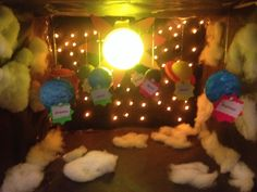 My daughter's solar system project. Christmas lights in the back for stars and a painted tap light for the sun.