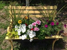 s 15 whimsical ways to use old furniture in your flower bed, gardening, painted furniture, repurposing upcycling, Plant tall grasses in a mix of pretty blooms Tall Planters, Garden Planters, Garden Beds, Garden Art, Garden Benches, Garden Chairs, Old Benches, Plastic Planter, Colorful Garden