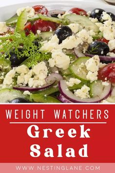 Weight Watchers Greek Salad Recipe. A quick and easy lunch, appetizer, or dinner. Healthy, vegetarian, vegan, and delicious with tomatoes, cucumber, red onion, green bell pepper, kalamata olives, feta cheese, and a dressing of lemon juice and olive oil. MyWW Points: 6 Green Plan, 6 Smart Points. Weight Watchers Salad, Weight Watchers Vegetarian, Weight Watchers Casserole, Weight Watcher Dinners, Greek Salad Recipes, Ww Recipes, Veggie Recipes, Healthy Recipes, Meals