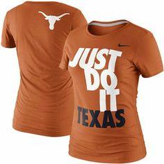 Nike Texas Longhorns Womens T-Shirt Texas Longhorns T Shirts, Ut Longhorns, Love Fitness, Fitness Brand, College Football, Football Moms, Miami Hurricanes Apparel, Texas Forever, University Of Texas