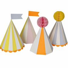 Silly Circus Party Hats: These lovely party hats are another addition to our gorgeous 'Silly Circus' party range. Each pack includes two hats in four different designs. The hats feature a mix of stripey patterns, flags, pom poms and/or neon scalloped edges. The hats have a neon orange elastic tie, making them suitable for both adults and kids to wear.