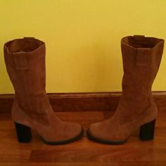 Classy Karma Cow Suede Leather Boots 10% off 2+ bundle! :-)  On Your Feet mid brown cow suede leather boots. The boot covers the calf and the top of the boot is just below the knee. The zipper is on the inside of the leg of the boot. Worn once. Size 7M. The boots are not lined so they are very versatile & could be worn with shorts, Capri's, skirts, dresses, dress pants & jeans in any season. :-) Shoes Heeled Boots