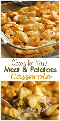 (Good-for-You) Meat and Potatoes Casserole - Ground beef or turkey is sauteed with vegetables, covered in potatoes, and smothered in a light, creamy sauce. Bake it up for a dinner your family will love! (recipes with beef stew meat dinner tonight) Potatoe Casserole Recipes, Casserole Dishes, Meat And Potatoes Recipes, Ground Beef Potato Casserole, Hamburger Meat Recipes Ground, Dinner Ideas Hamburger Meat, Healthy Ground Beef, Hamburger Dishes, Hamburger Casserole