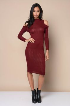 Elegant Cold Shoulder Ribbed Dress