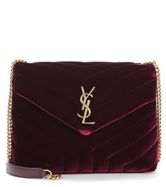 Loulou Monogram Small burgundy velvet shoulder bag